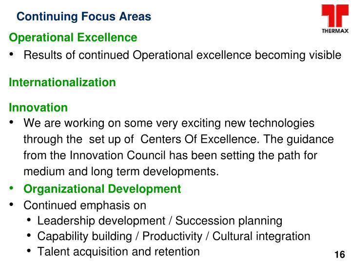 Continuing Focus Areas
