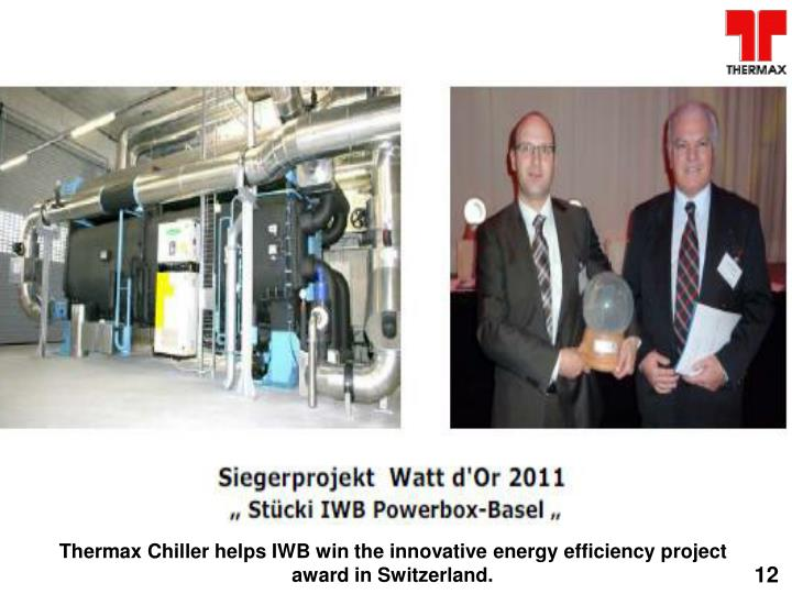 Thermax Chiller helps IWB win the innovative energy efficiency project award in Switzerland.