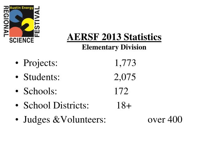 Aersf 2013 statistics elementary division