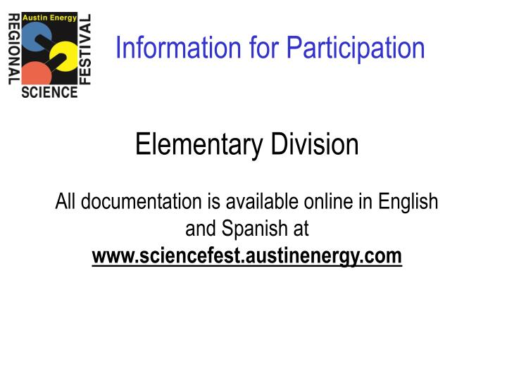 Information for Participation