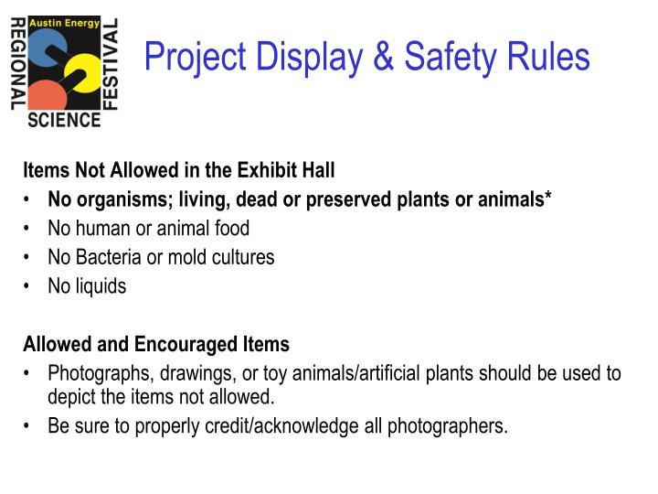 Items Not Allowed in the Exhibit Hall