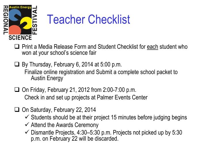Print a Media Release Form and Student Checklist for