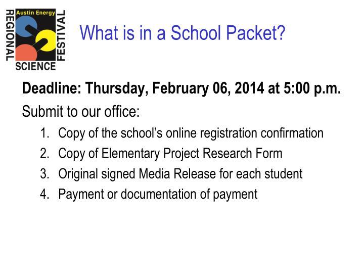 Deadline: Thursday, February 06, 2014 at 5:00 p.m.