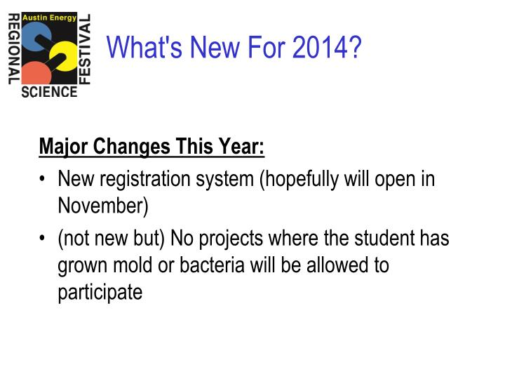 Major Changes This Year: