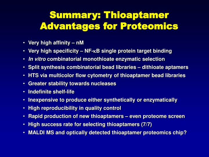 Summary: Thioaptamer Advantages for Proteomics