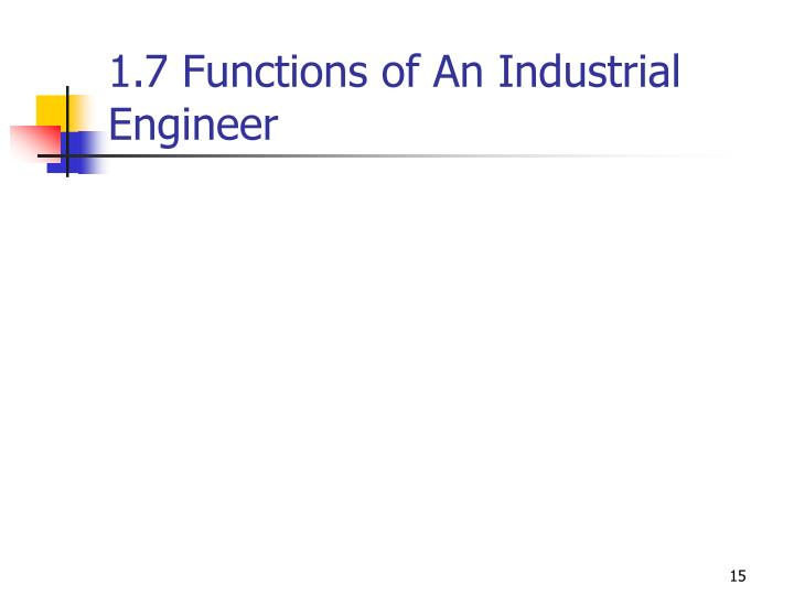 1.7 Functions of An Industrial Engineer