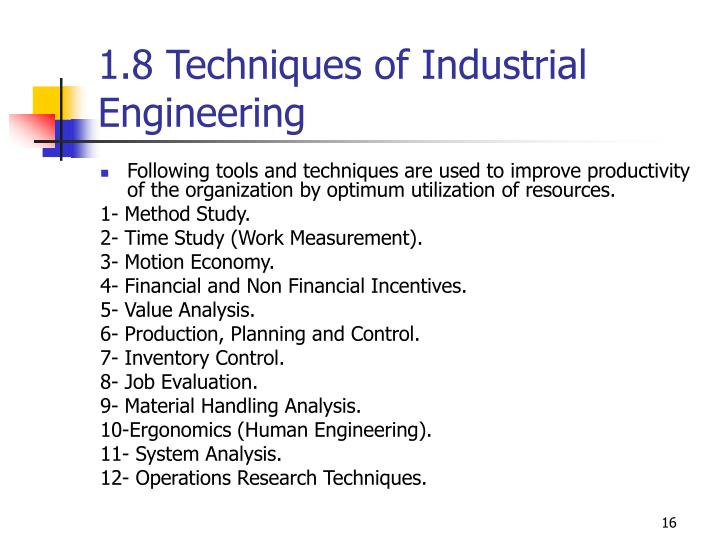 1.8 Techniques of Industrial Engineering