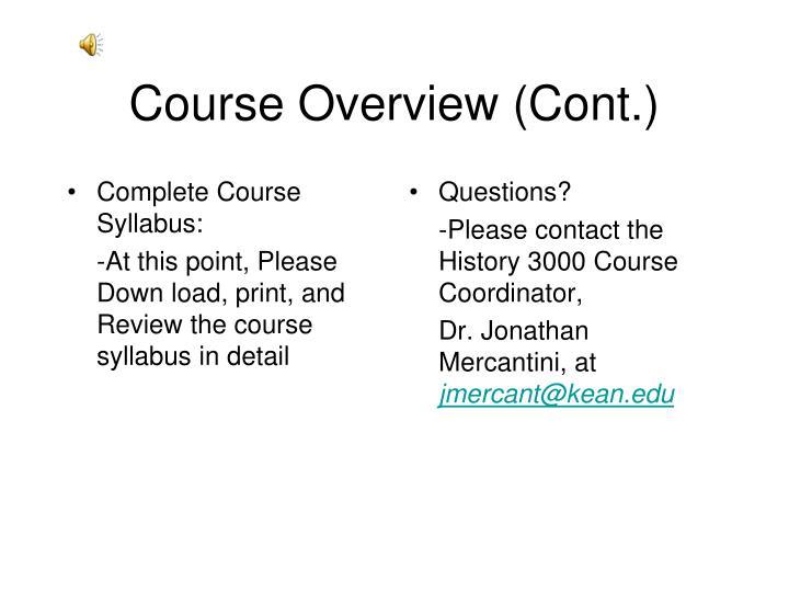 Complete Course Syllabus: