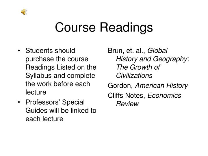 Students should purchase the course Readings Listed on the Syllabus and complete the work before each lecture