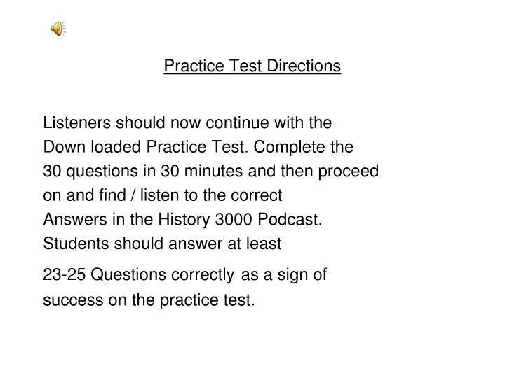 Practice Test Directions