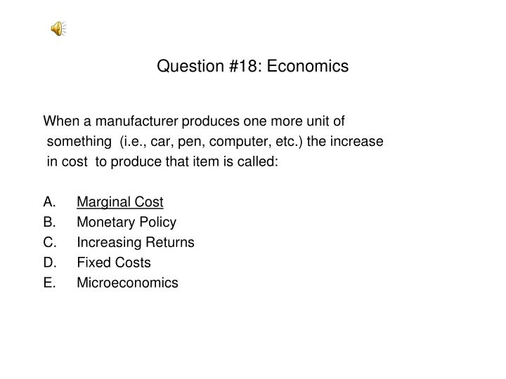 Question #18: Economics