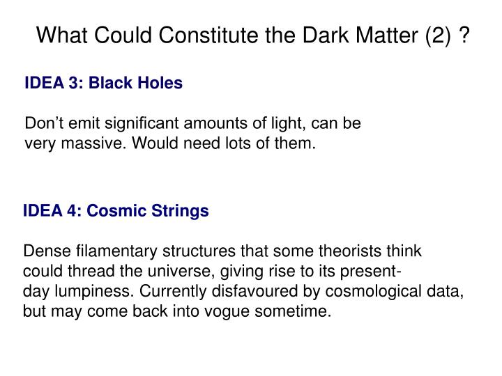 What Could Constitute the Dark Matter (2) ?