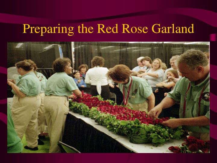 Preparing the Red Rose Garland
