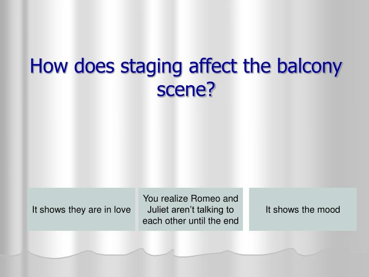 How does staging affect the balcony scene?