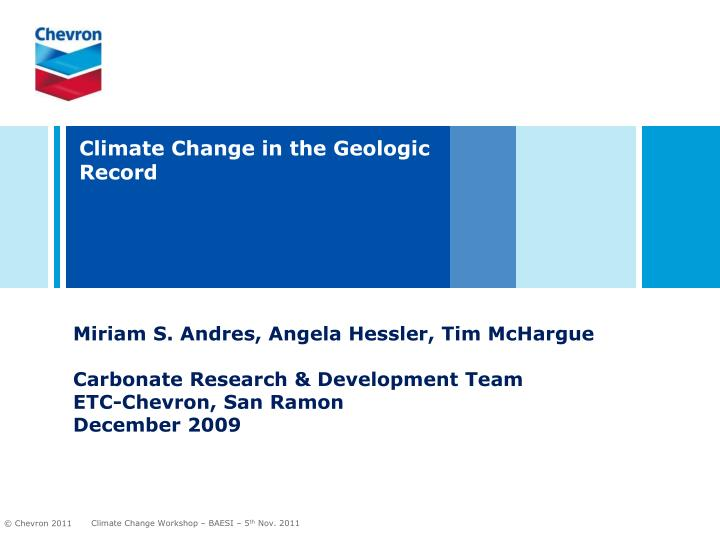 Climate change in the geologic record
