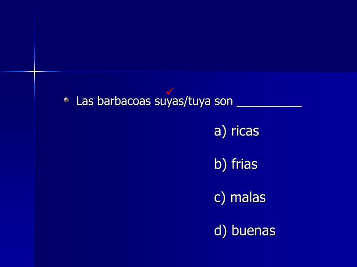 Las barbacoas suyas/tuya son __________