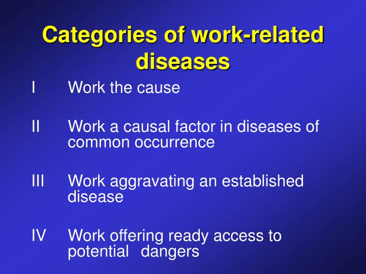 Categories of work related diseases