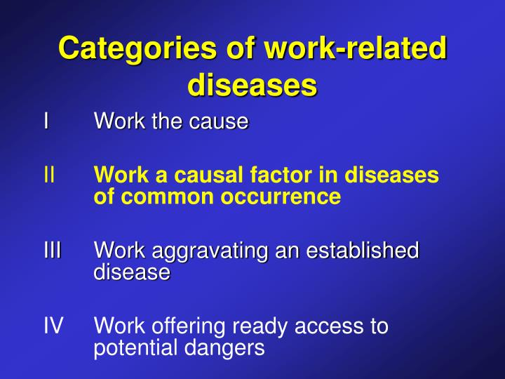 Categories of work-related diseases
