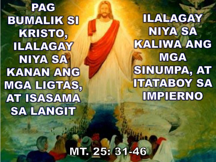 PAG BUMALIK SI KRISTO, ILALAGAY NIYA SA KANAN ANG MGA LIGTAS, AT ISASAMA  SA LANGIT
