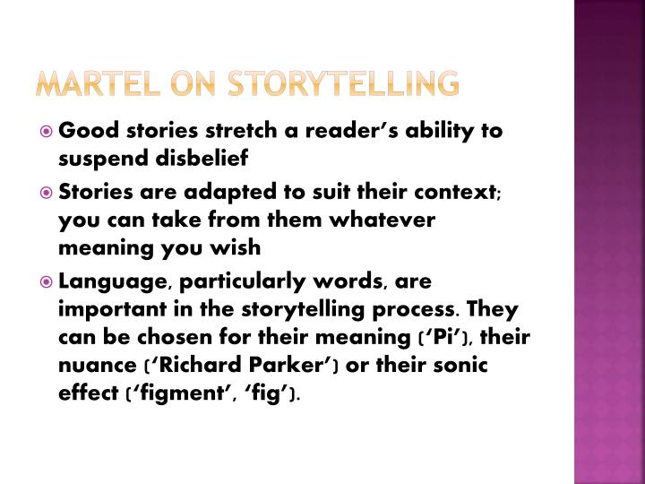 MARTEL ON STORYTELLING