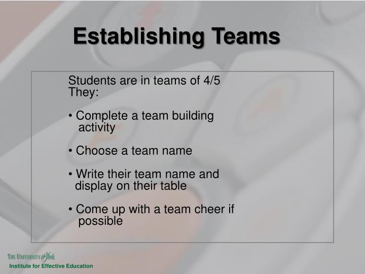 Establishing Teams