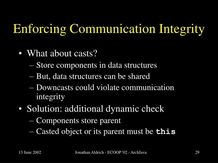 Enforcing Communication Integrity