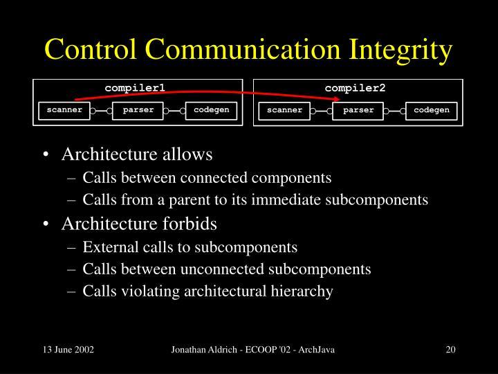 Control Communication Integrity