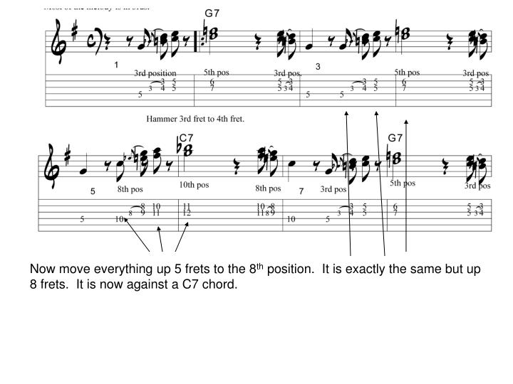 Now move everything up 5 frets to the 8