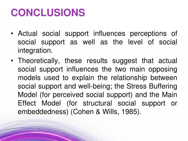 Actual social support influences perceptions of social support as well as the level of social integration.