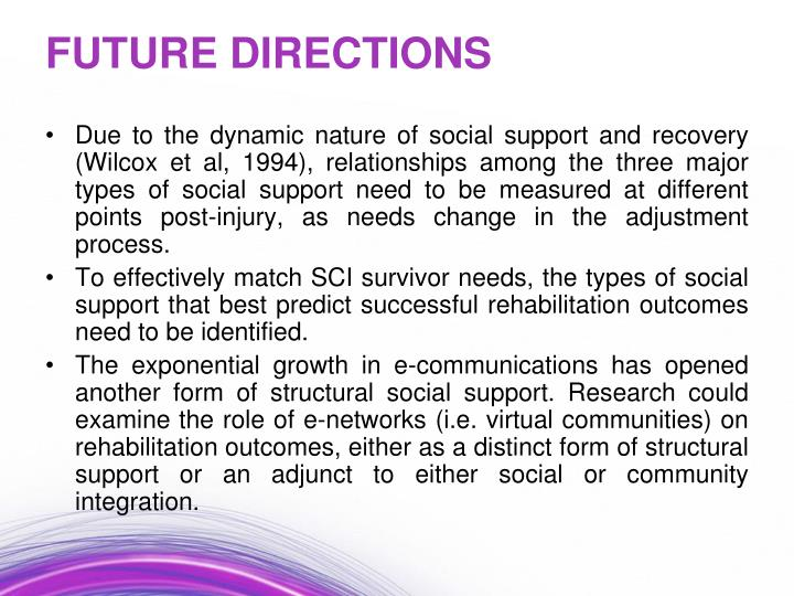 Due to the dynamic nature of social support and recovery (Wilcox et al, 1994), relationships among the three major types of social support need to be measured at different points post-injury, as needs change in the adjustment process.