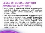 level of social support among sci survivors