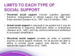 limits to each type of social support