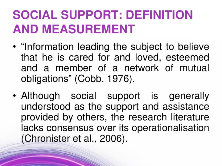 Social support definition and measurement