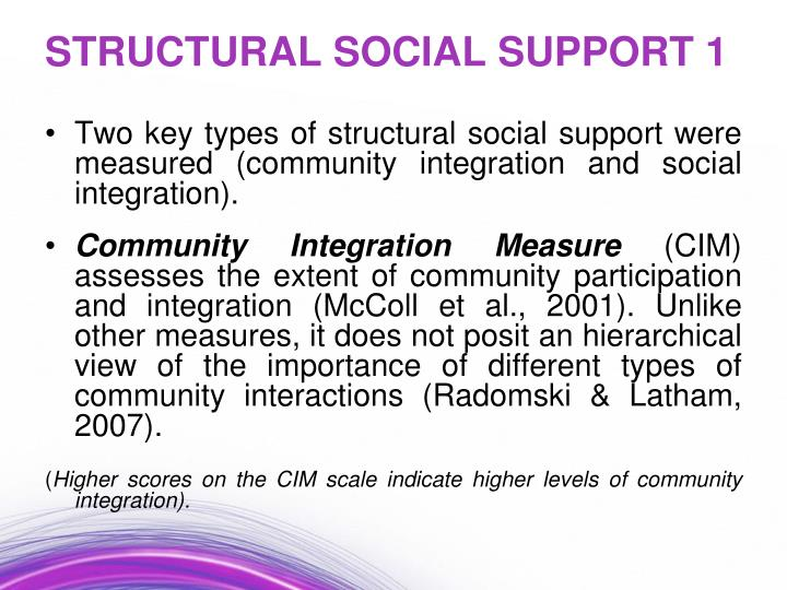 Two key types of structural social support were measured (community integration and social integration).