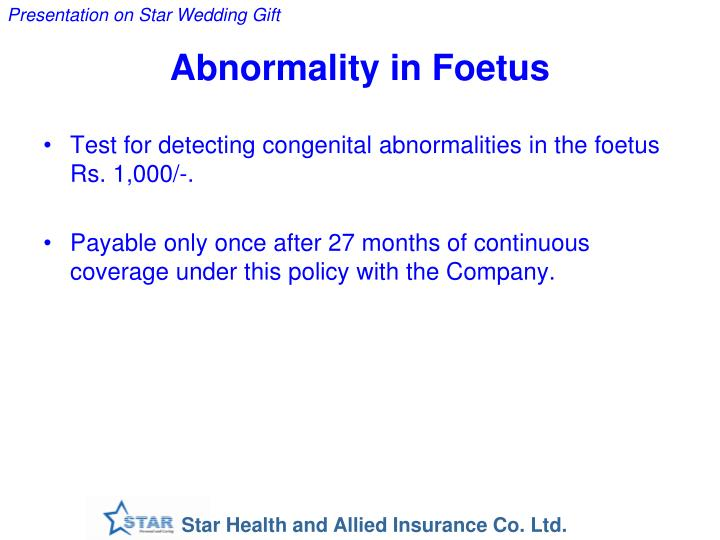 Abnormality in Foetus