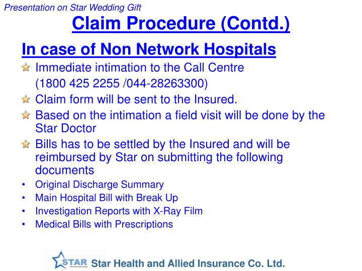 Claim Procedure (Contd.)