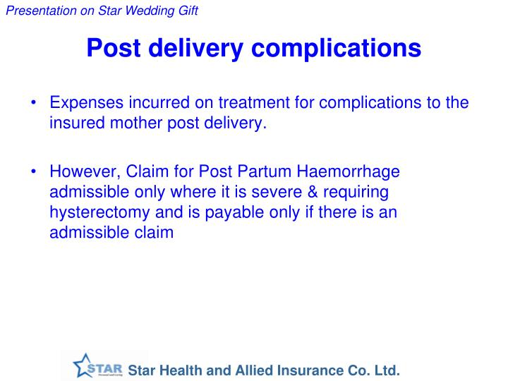Post delivery complications