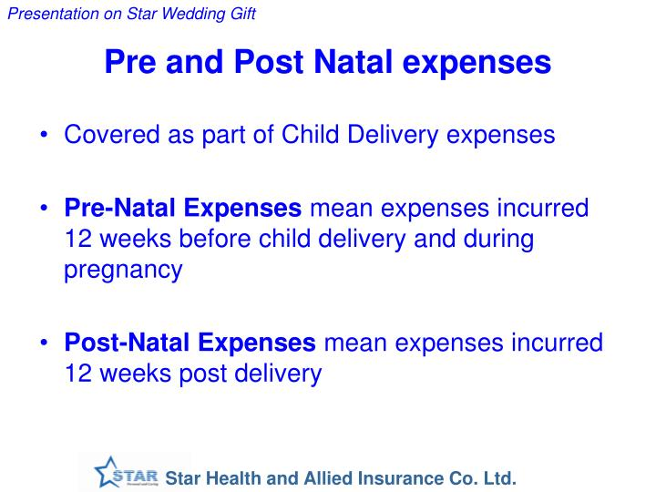Pre and Post Natal expenses