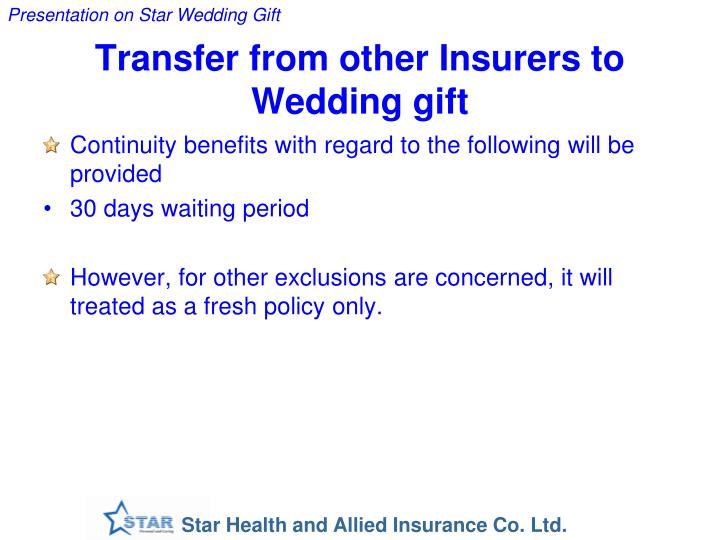 Transfer from other Insurers to Wedding gift