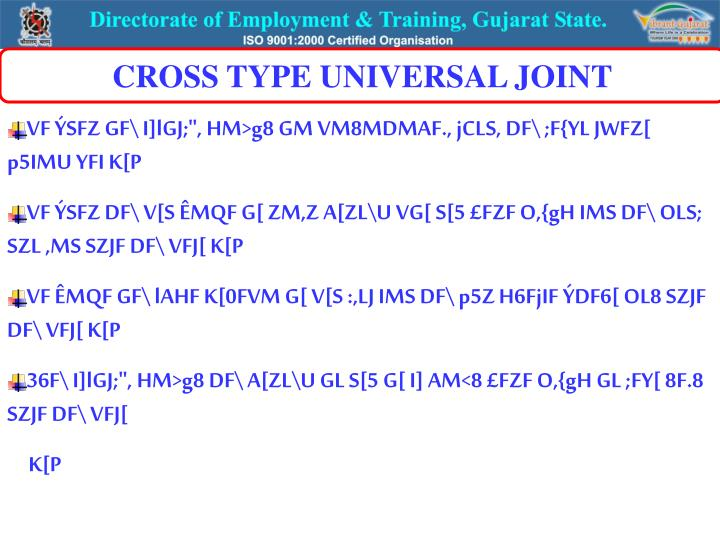 CROSS TYPE UNIVERSAL JOINT