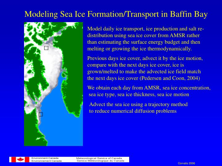 Modeling Sea Ice Formation/Transport in Baffin Bay