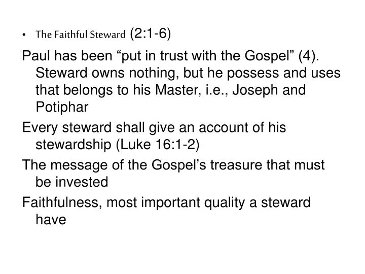 The Faithful Steward