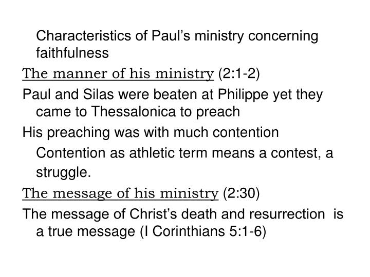 Characteristics of Paul's ministry concerning faithfulness