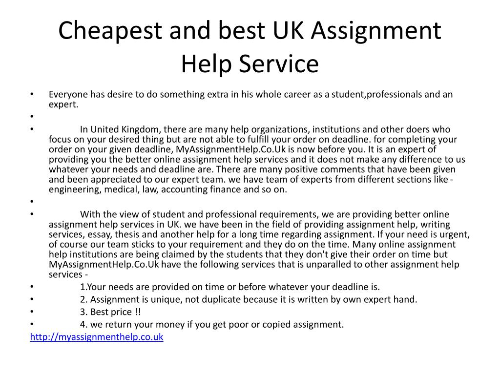 Cheapest and best UK Assignment Help Service