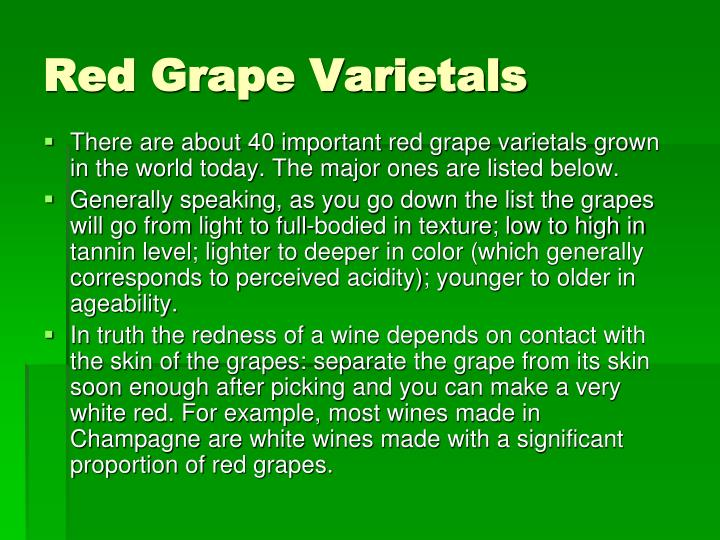 Red Grape Varietals