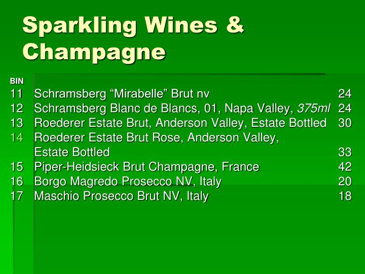 Sparkling Wines & Champagne