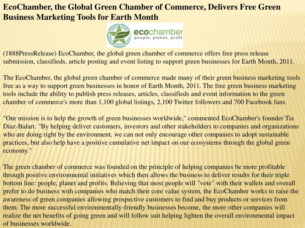 EcoChamber, the Global Green Chamber of Commerce, Delivers Free Green Business Marketing Tools for Earth Month