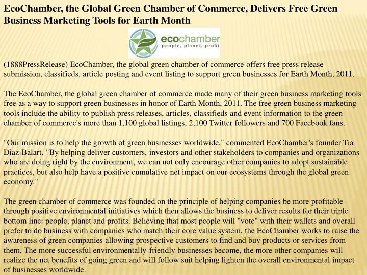 EcoChamber, the Global Green Chamber of Commerce, Delivers Free Green Business Marketing Tools for E...