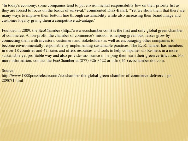 """In today's economy, some companies tend to put environmental responsibility low on their priority l..."