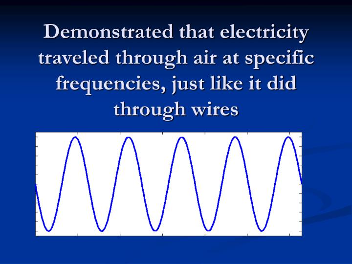 Demonstrated that electricity traveled through air at specific frequencies, just like it did through wires